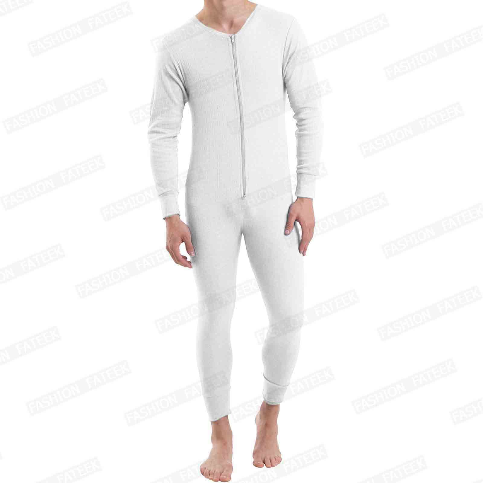 Mens thermal onesie underwear all in one set baselayer zip for Mens dress shirt onesie