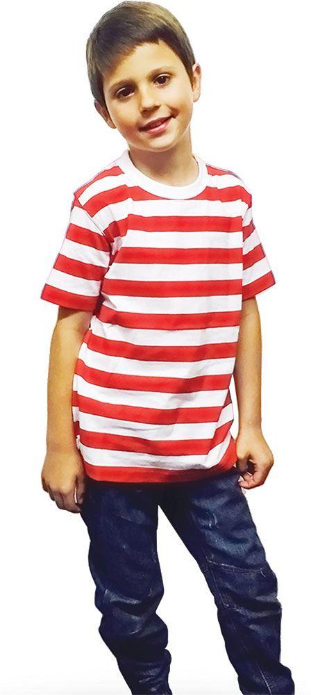 WOMENS KIDS MENS BLUE RED & WHITE STRIPED T-SHIRT LADIES ...
