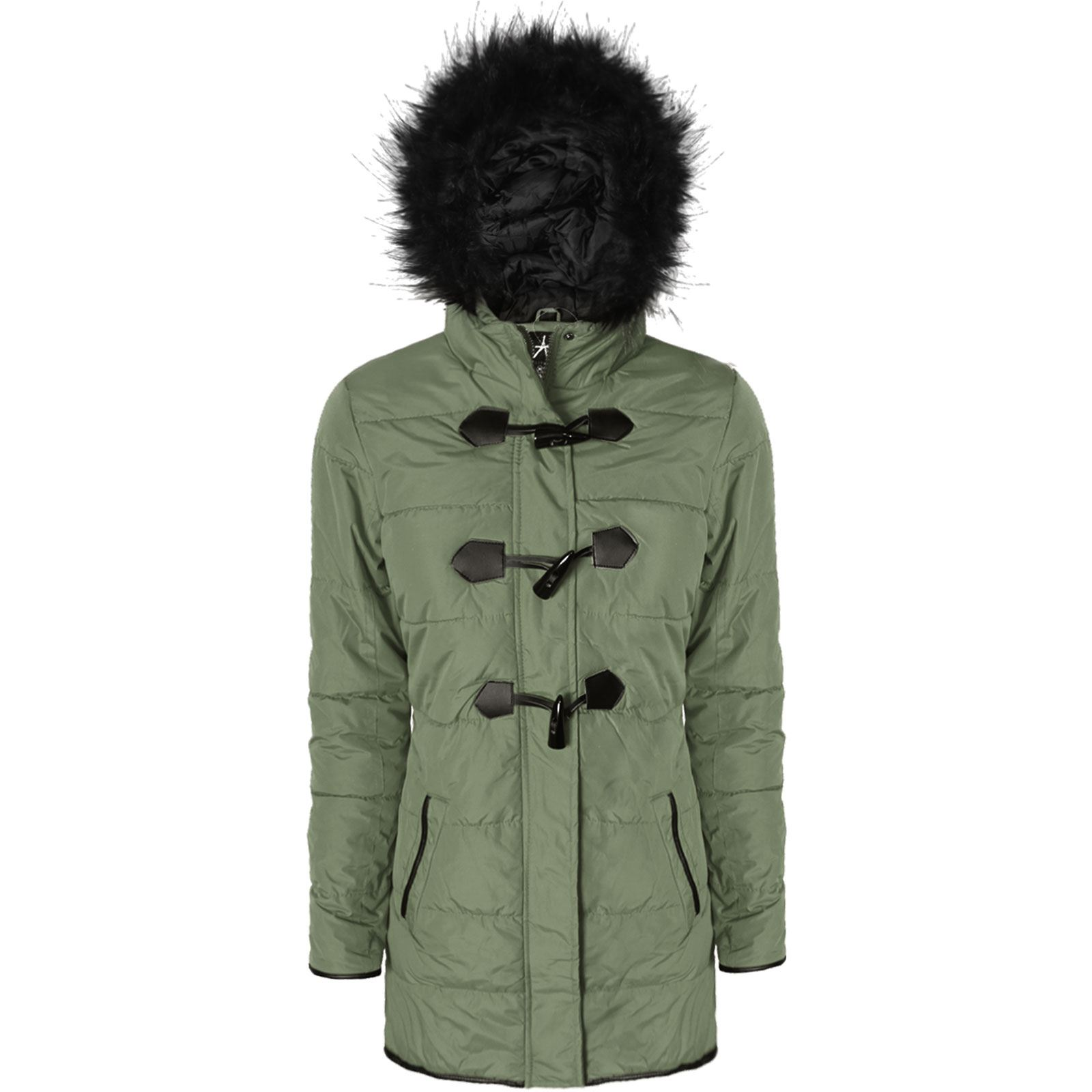 WOMENS LADIES TOGGLE PADDED PARKA COAT DUFFLE ZIP UP FUR HOODED ...
