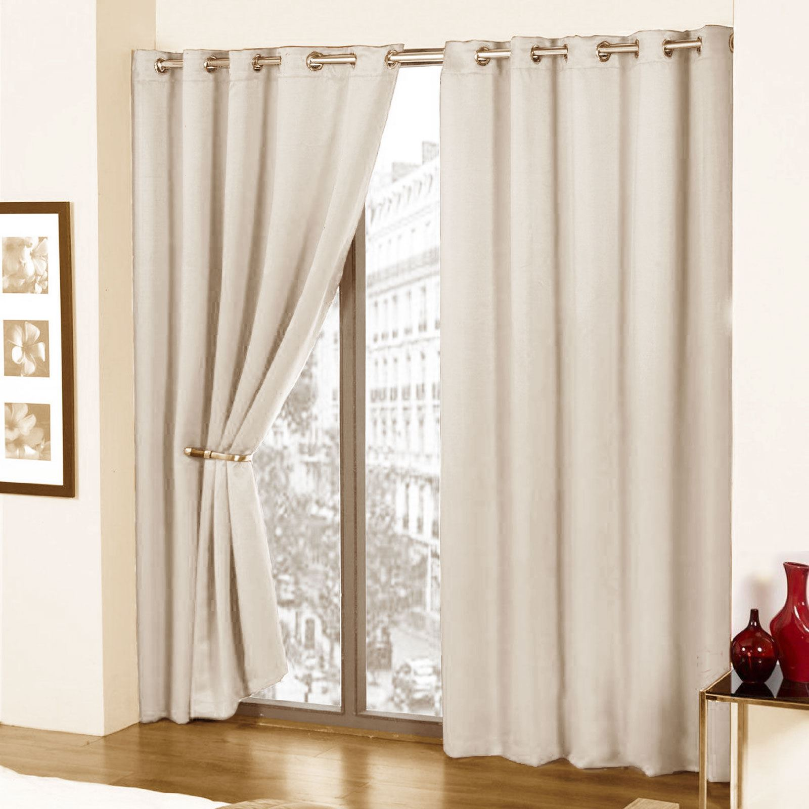 COMFYTEX FULLY LINED FAUX SILK LINED CURTAINS WITH EYELET RING TOP WITH TIE BACK