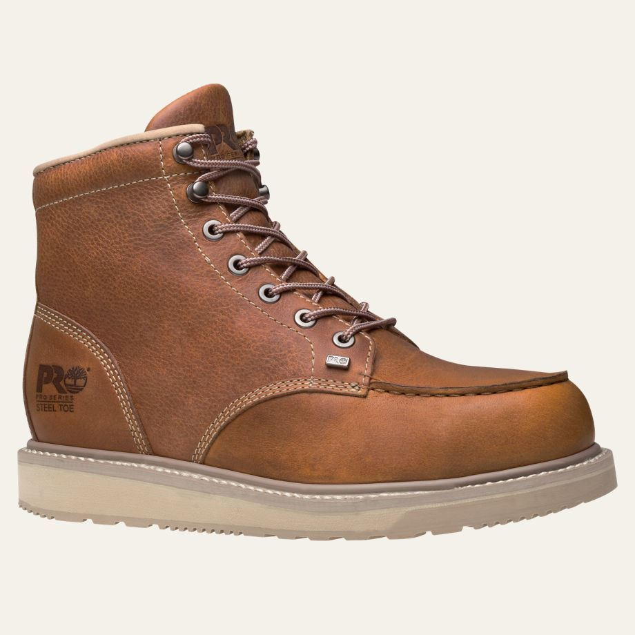 timberland pro boots mens barstow wedge moc soft toe brown