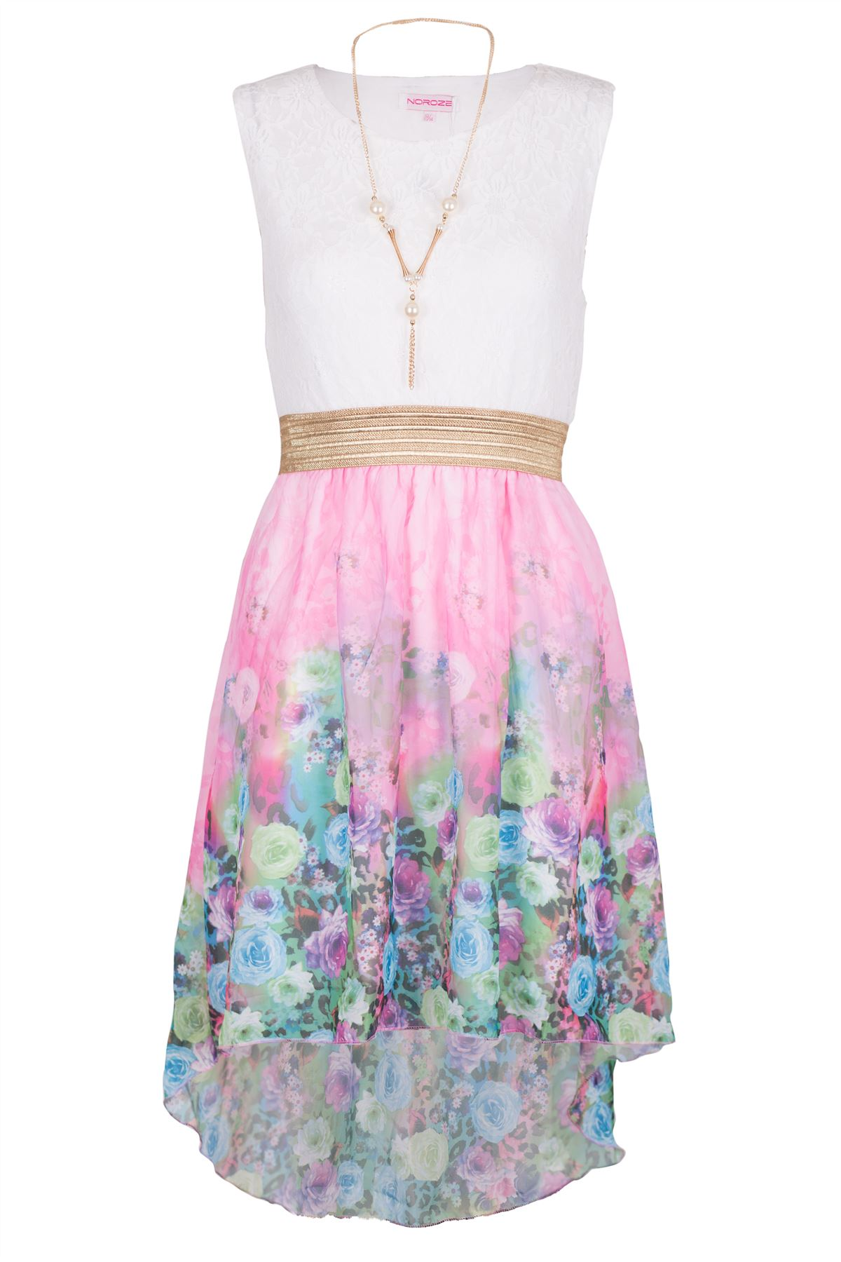Girls Kids Summer Party Sleeveless Lace Tops Floral High Low Dress 3 ...