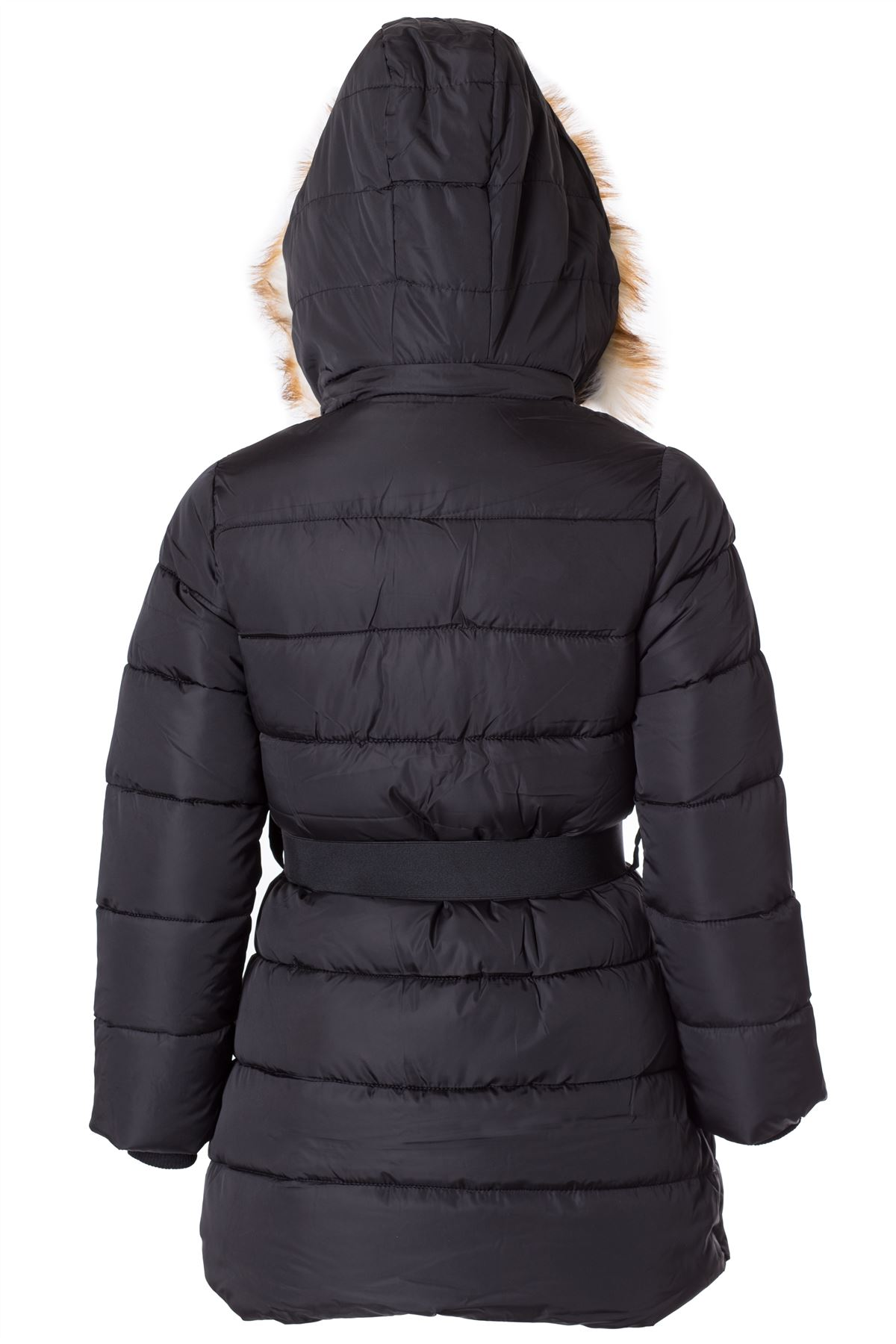 Girls Kids Quilted Padded Fur Collar Hooded Belted Winter Coat