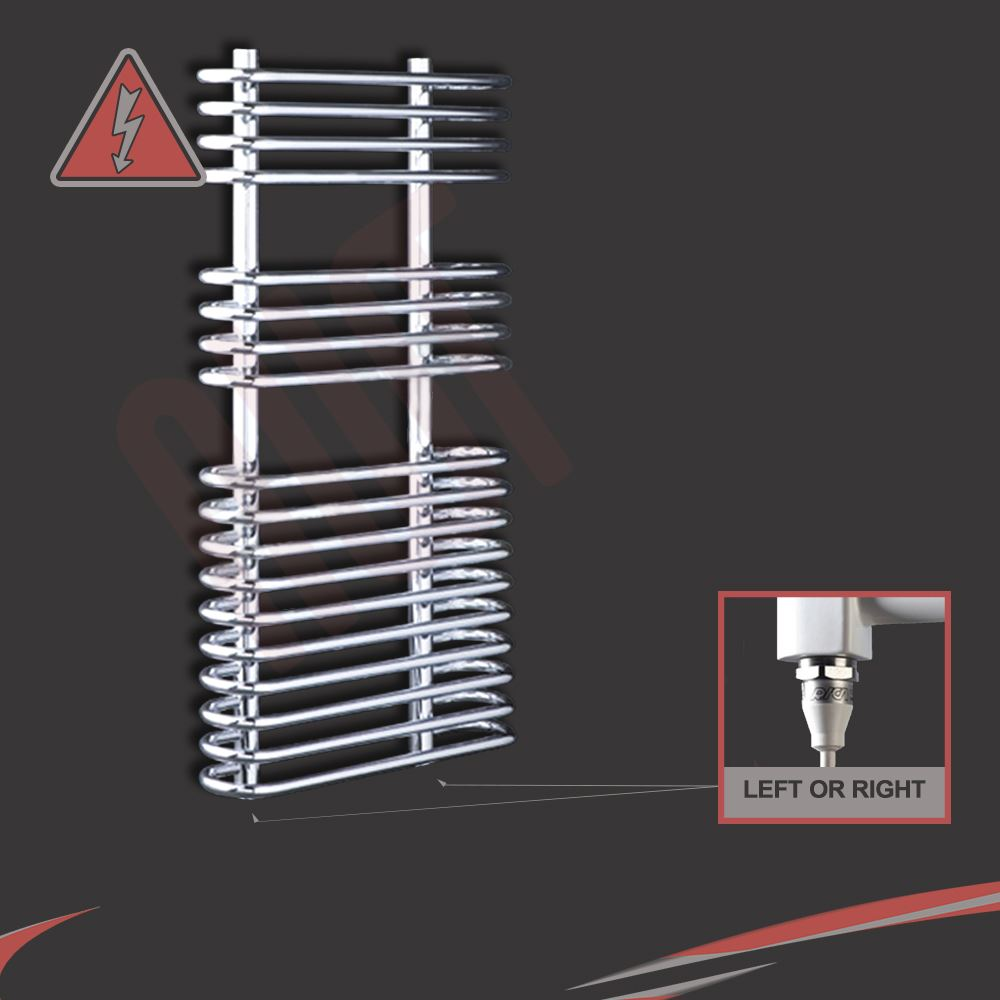 "500mm(w) x 900mm(h) ""Neath"" Designer Chrome Electric Heated Towel Rail - 600W"