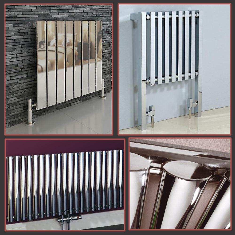 Horizontal Chrome Designer Radiators Oval Tube Flat Panel Central Heating Rads