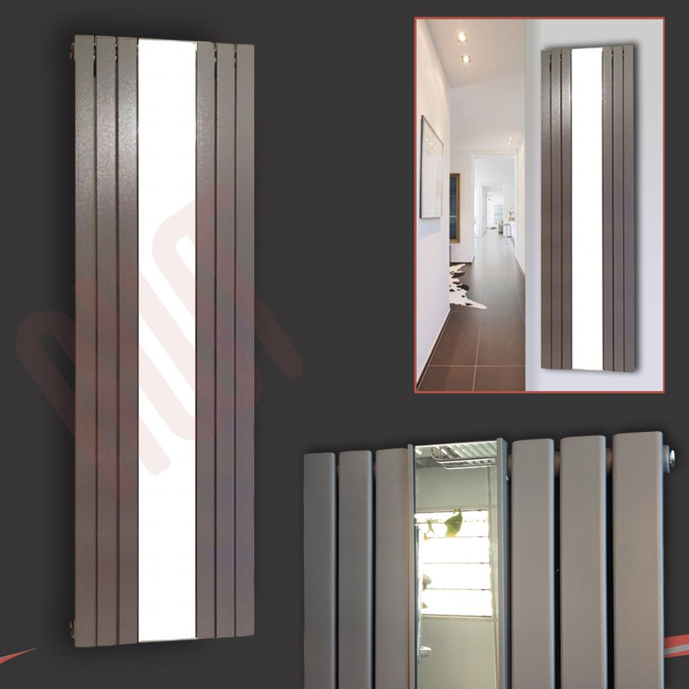 Vertical designer mirror radiators oval flat tube chrome for Mirror radiator