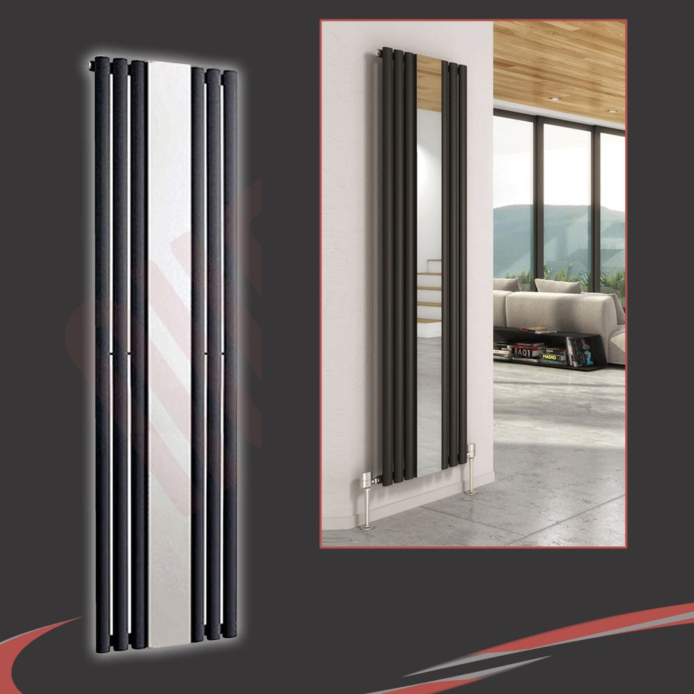 Vertical designer mirror radiators oval flat tube for Mirror radiator