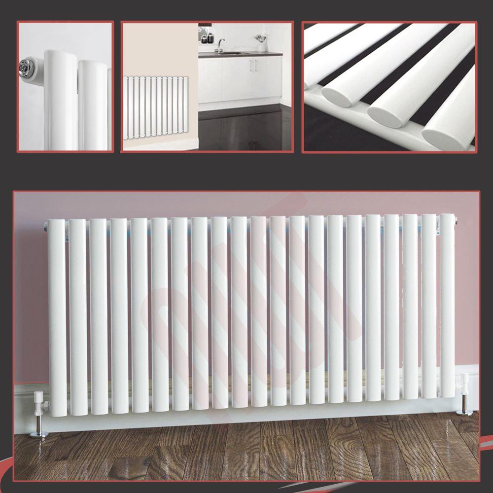 Horizontal White Designer Radiators Oval Tube & Flat Panels Central Heating Rads