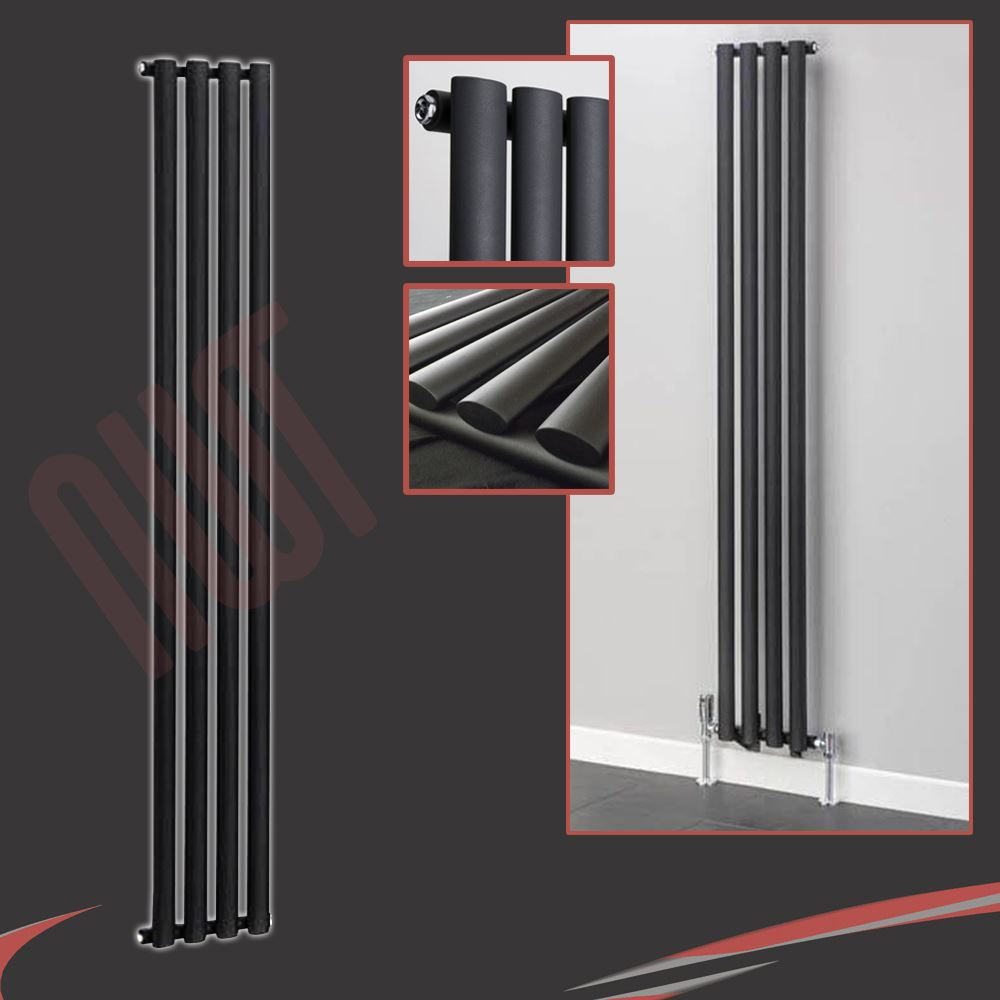 Mixed vertical black & anthracite central heating radiators, oval ...