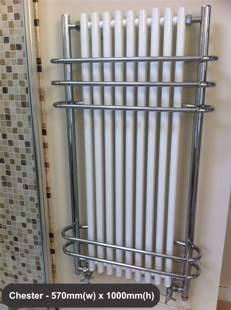 HIGH BTUs! Traditional Designer Chrome Heated Towel Rails ...