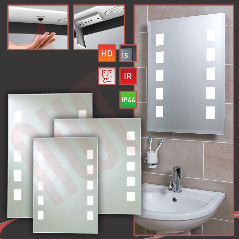 designer back lit led bathroom mirrors infrared heat demister shaver