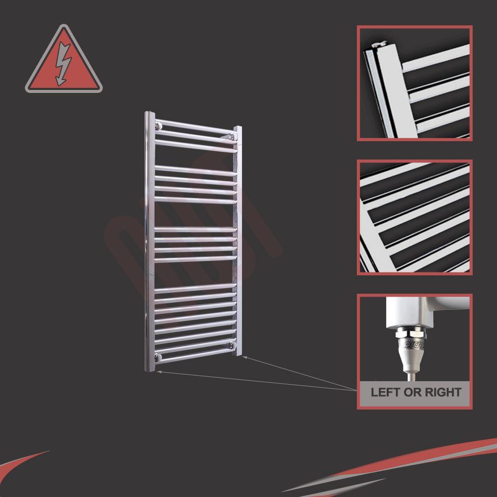 650x400mm Electric Straight Heated Towel Rail: 500mm W X 1000mm H Straight Chrome 300W Electric Heated