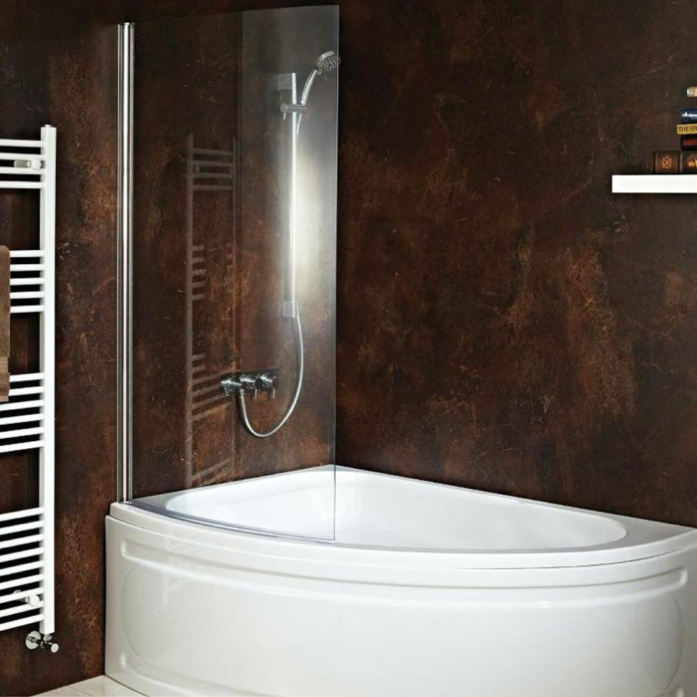 Carolina corner bath with hinged curved shower screen for Bathroom bath