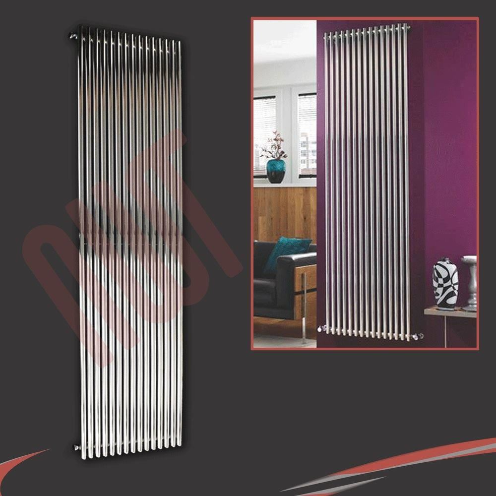 Vertical chrome designer radiators oval tube flat panels for central heating - Radiateurs plats pour chauffage central ...