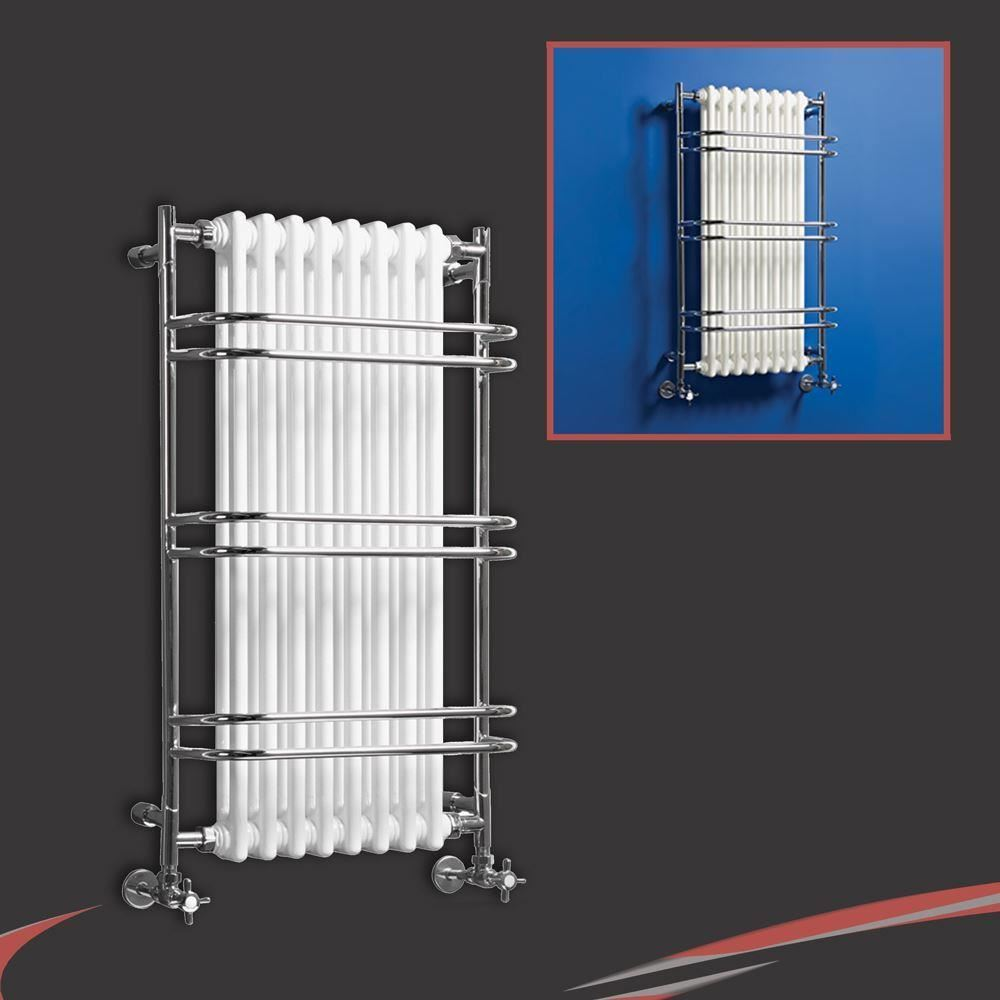 HIGH BTUs! Traditional Designer Chrome Heated Towel Rails