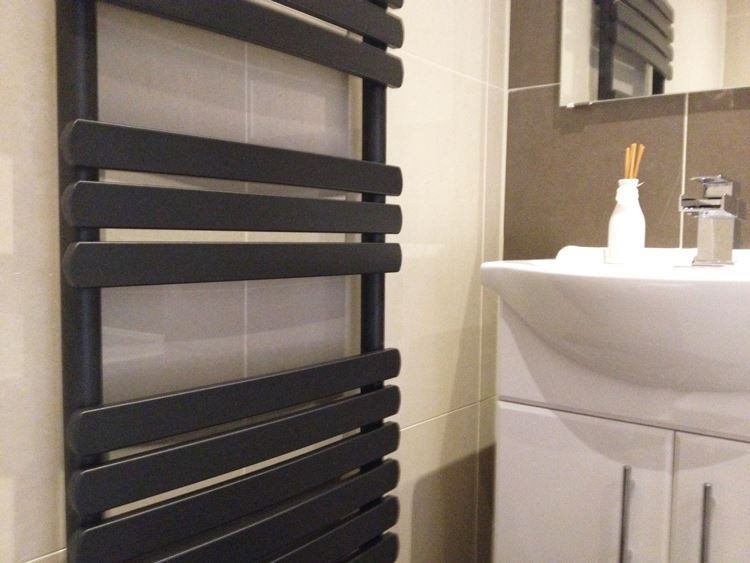 Black 400mm Towel Radiator: Black Designer Heated Towel Rail Radiators & Vlves Wall