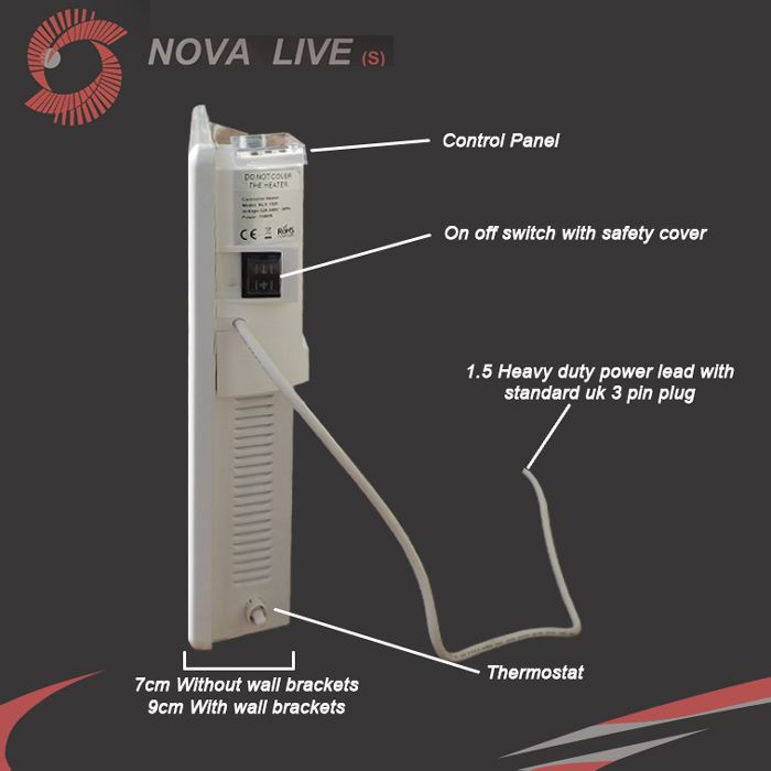 Nova Live S Electric White Panel Convector Heater Wall