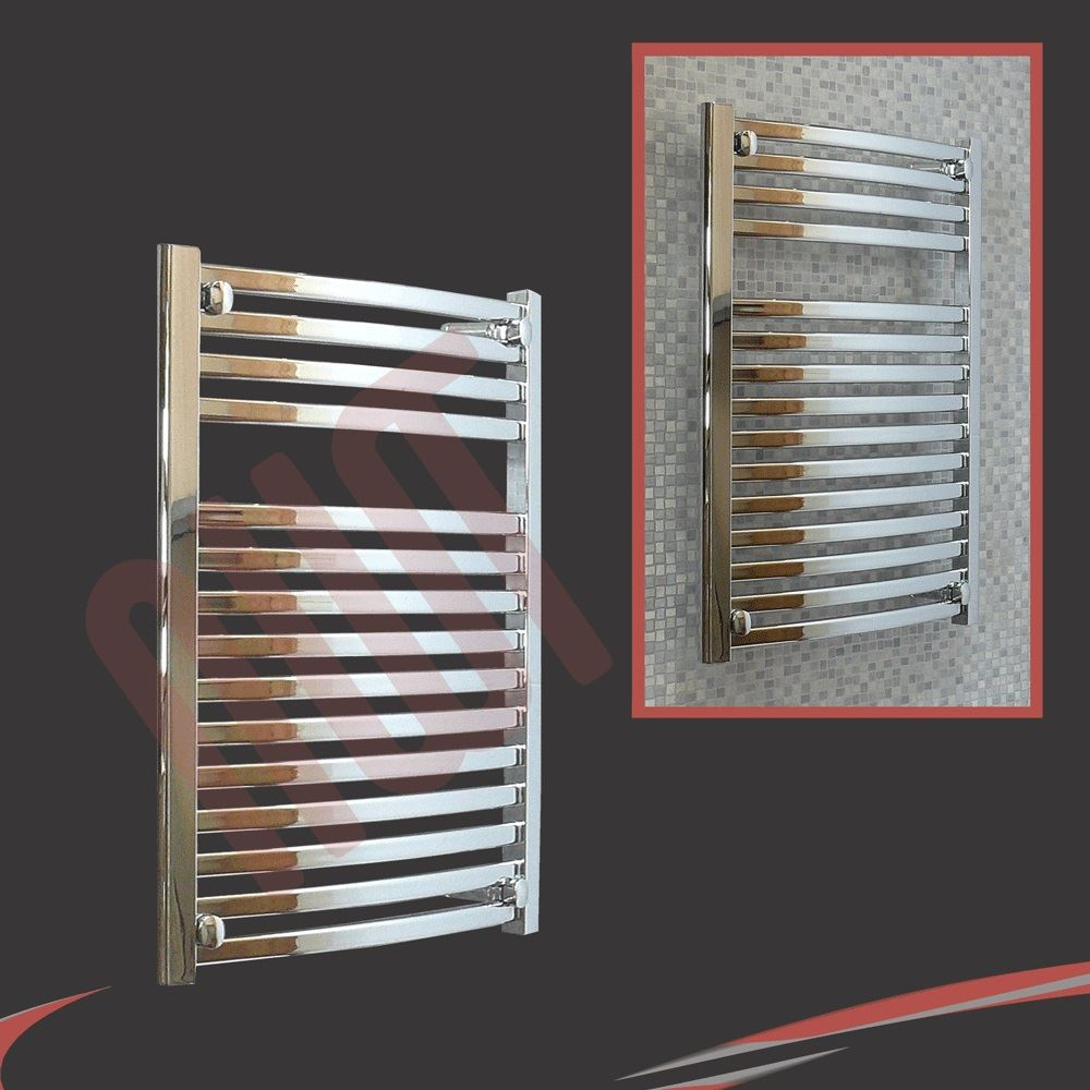 Electric Towel Rails: 600mm (w) X 800mm (h) Ellipse Chrome Heated Towel Rail