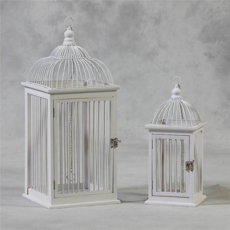 set of 2 shabby chic antique white decorative hanging bird cages ebay. Black Bedroom Furniture Sets. Home Design Ideas