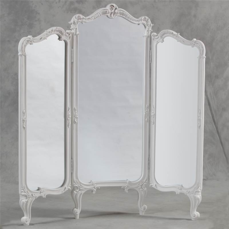 French Shabby Chic 3 Fold Dressing Mirror Room Divider