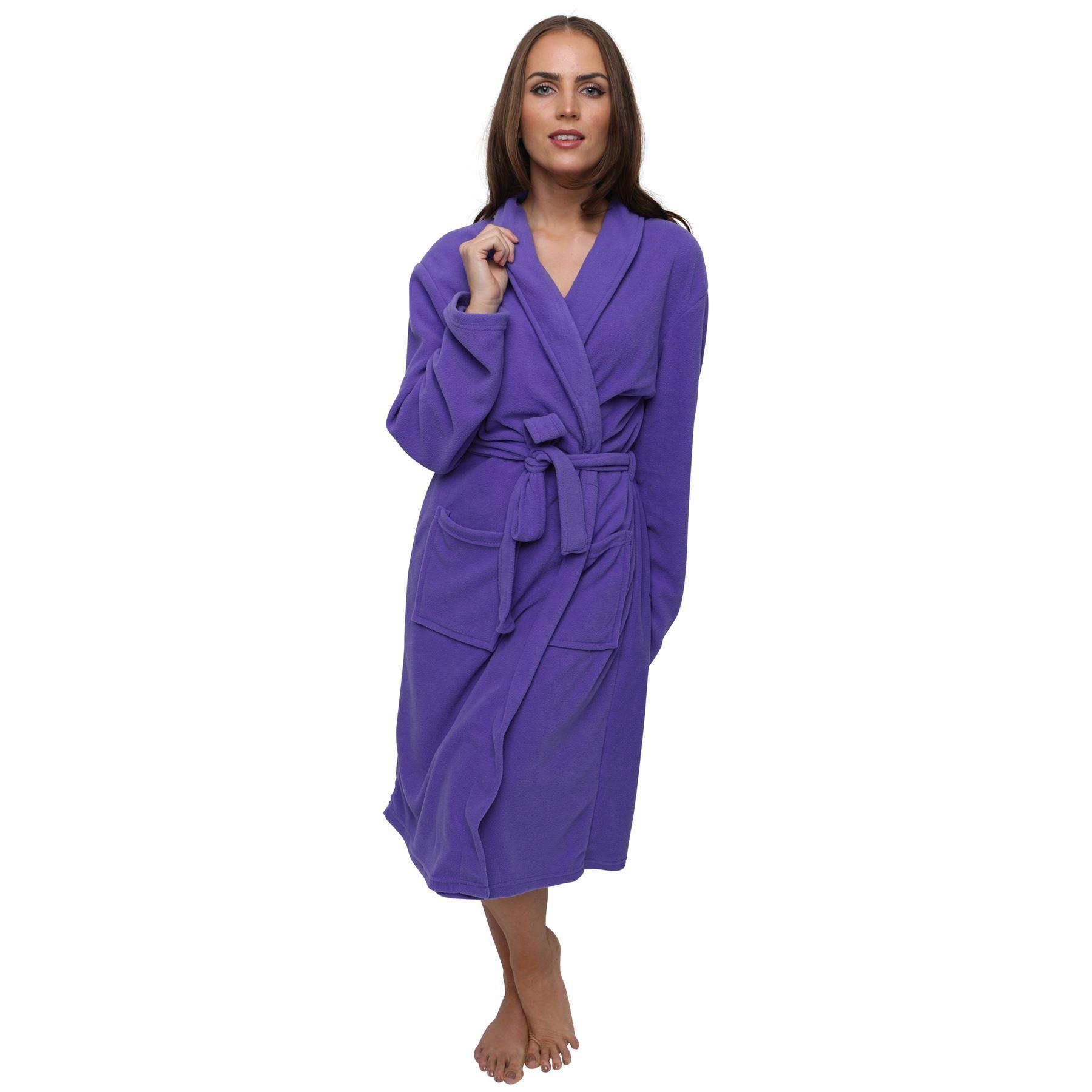 Women's Polar Fleece Robe Dressing Gown, Super Soft, 3 ...