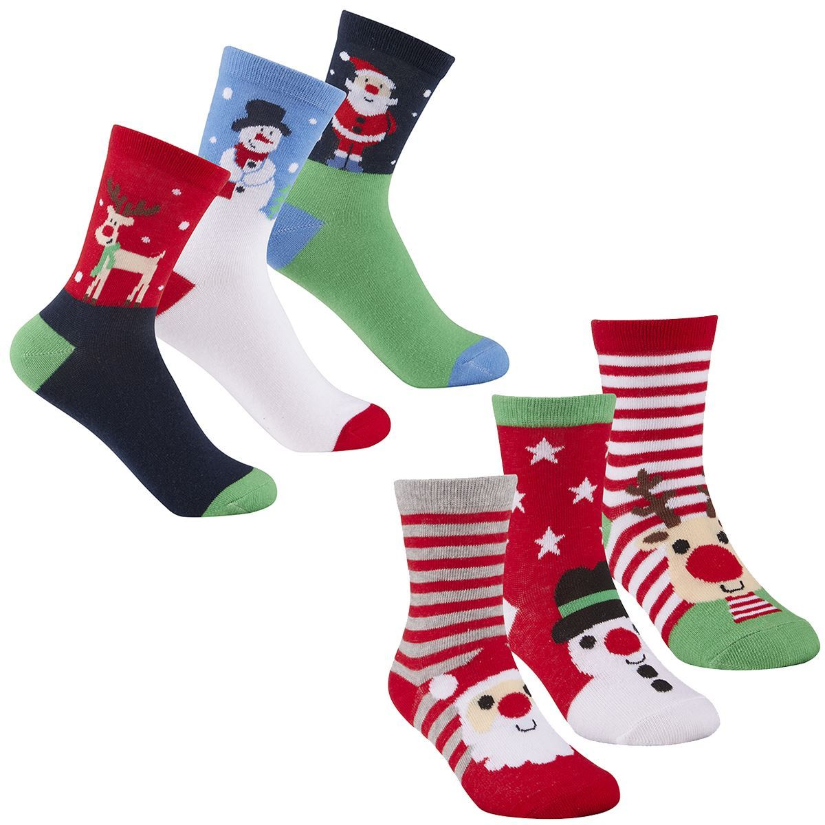 Pack Of 6 Kids Christmas Socks,Children's Novelty Xmas Stocking ...