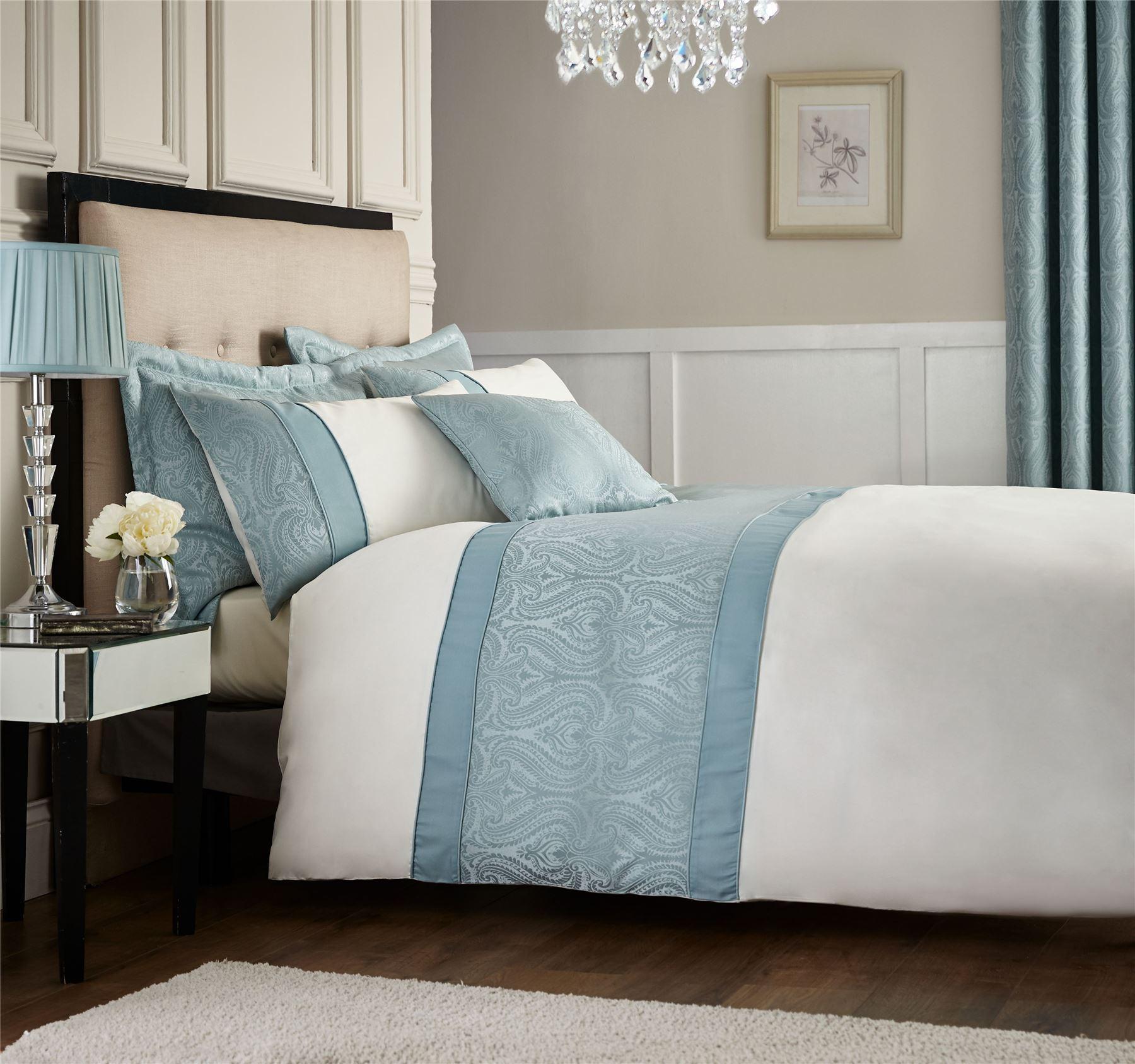 luxury ornate jacquard duvet quilt cover set double king size bedding duckegg ebay. Black Bedroom Furniture Sets. Home Design Ideas