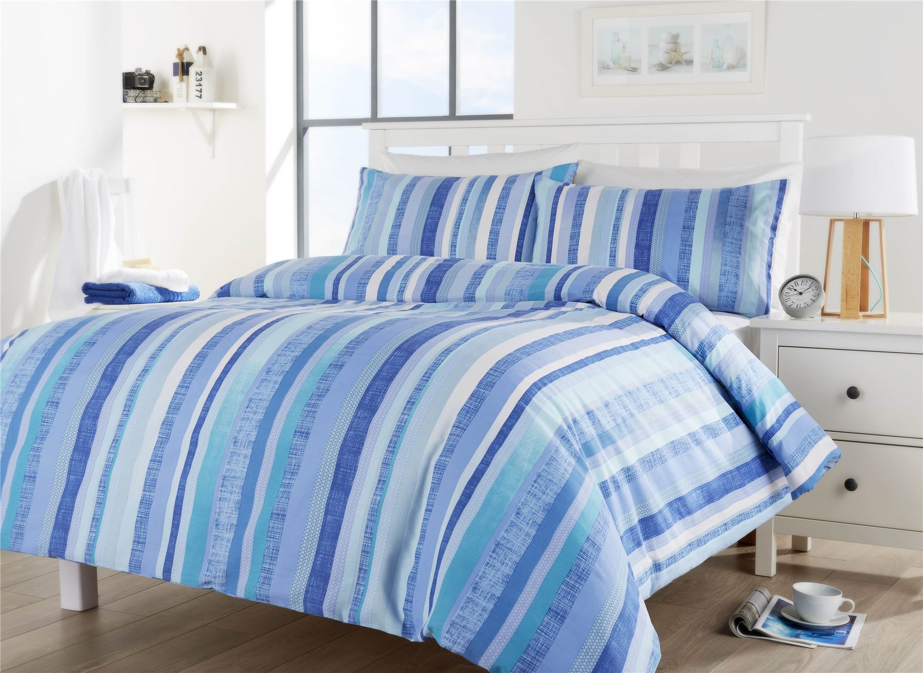 Maine Stripe Duvet Quilt Cover Set Single Double King