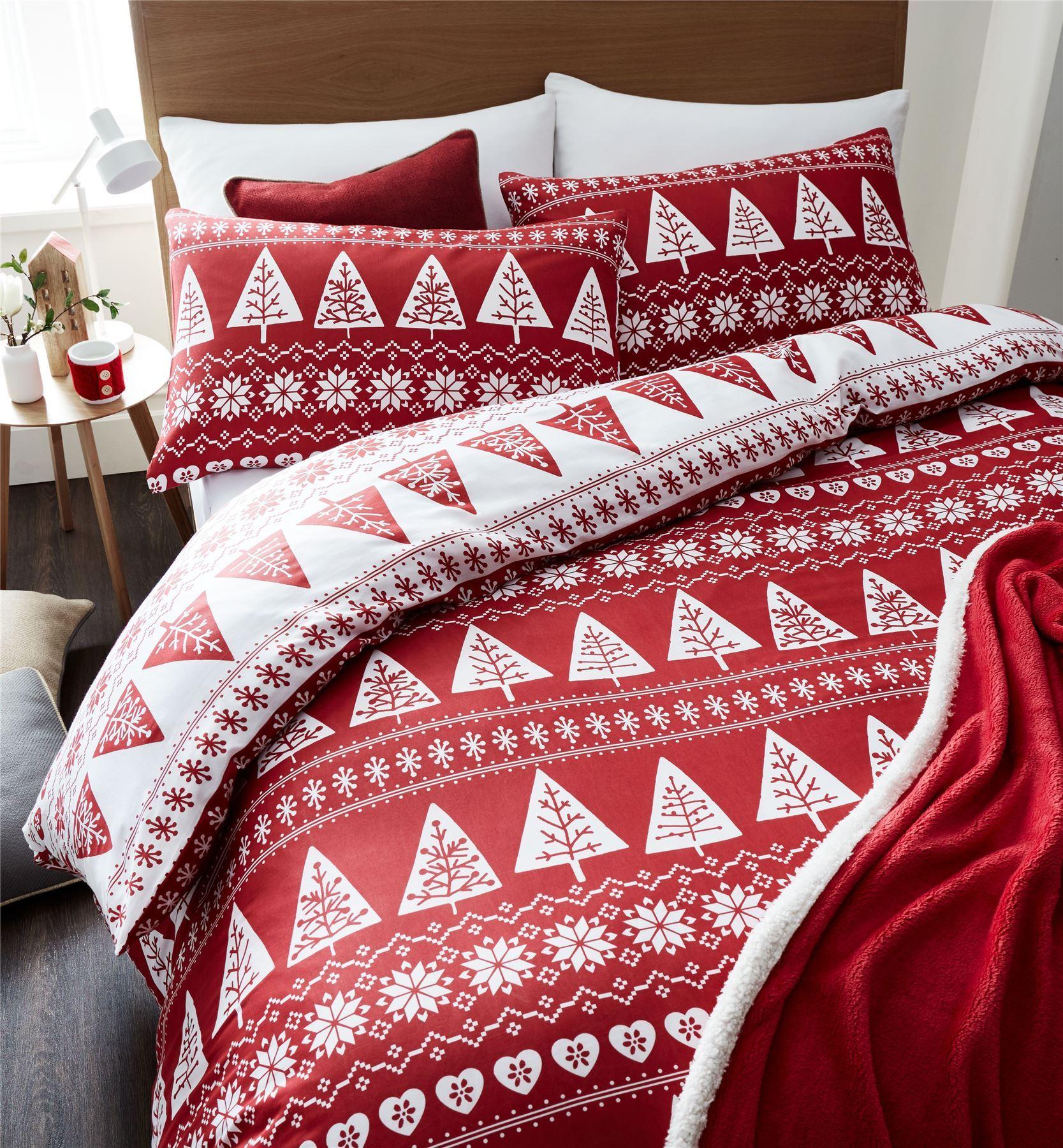 Nordic Trees Duvet Quilt Cover Set Festive Bedding Red