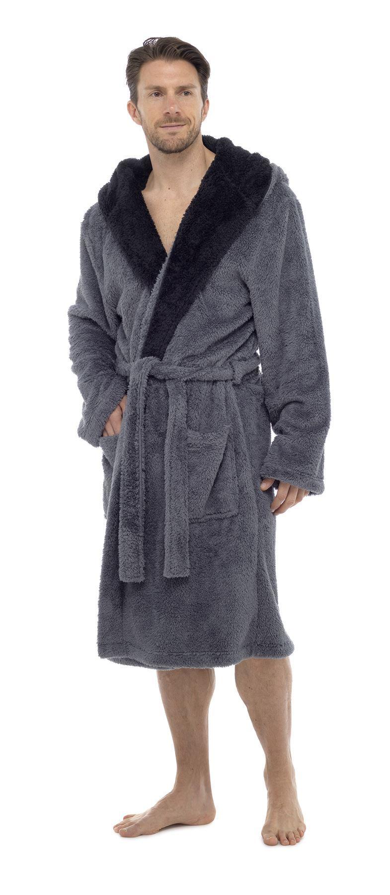 Men S Snuggle Fleece Robe Luxury Super Soft Hooded