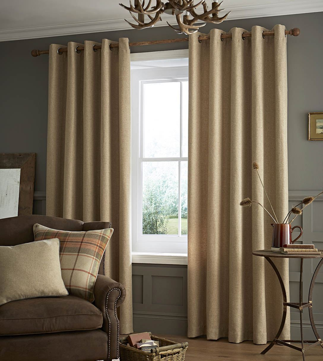 Brushed Heritage Plain Curtains, Fully Lined Ring Top Eyelet ...