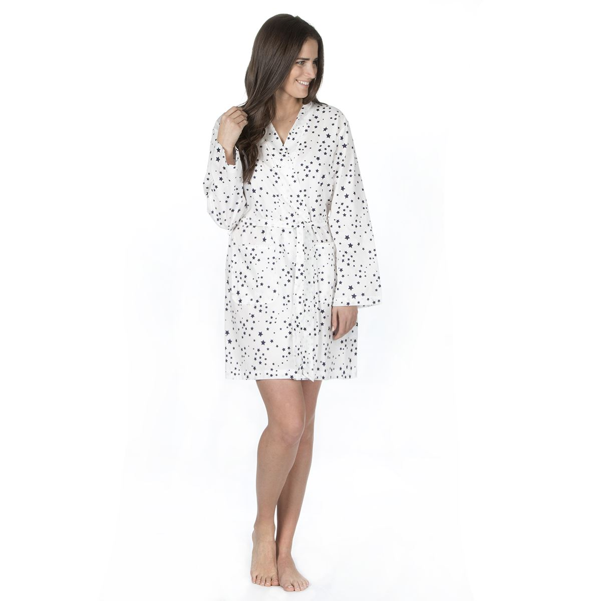 Ladies Cotton Dressing Gown, Floral Kimono Wrap Robe Nightwear, Size ...