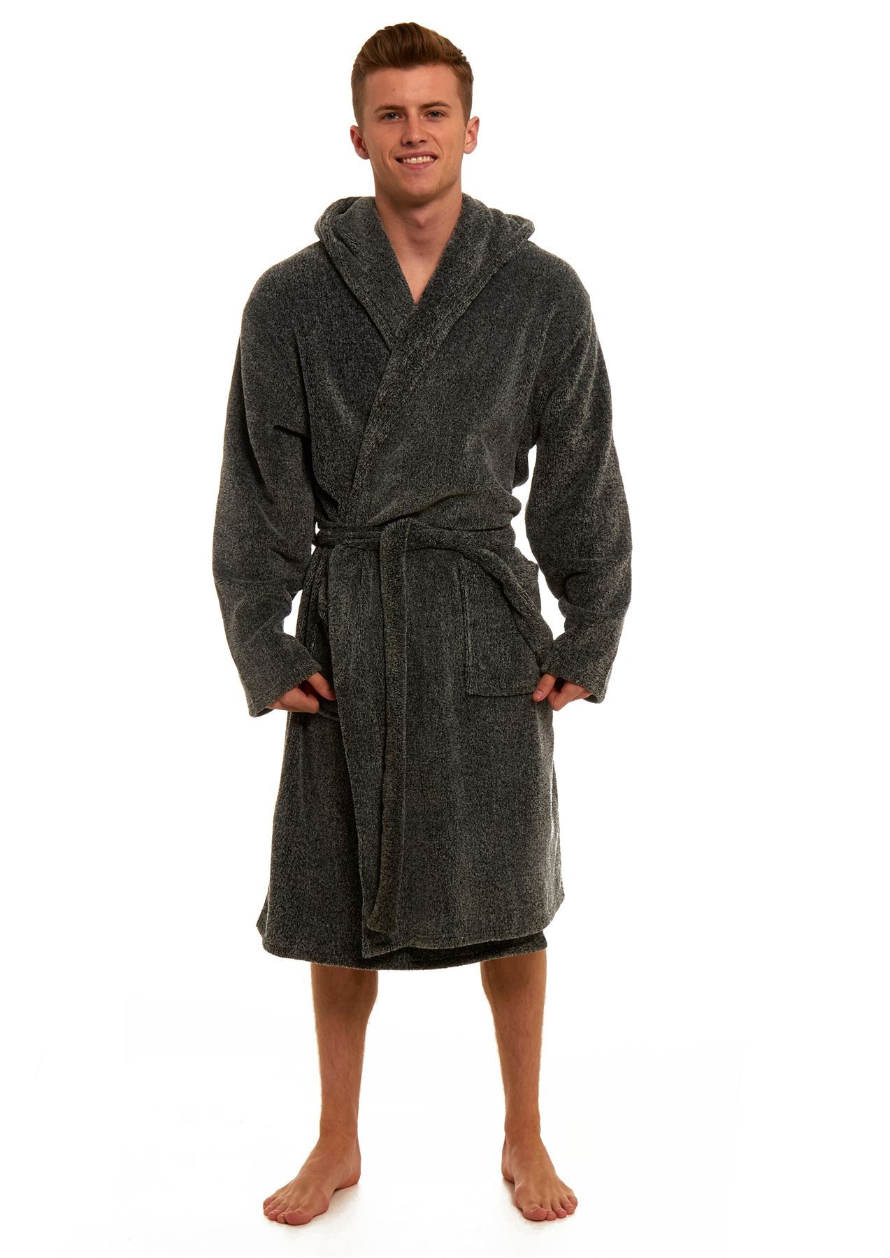Men\'s Twisted Yarn Black Hooded Robe, Warm Fleece Dressing Gown Gift ...