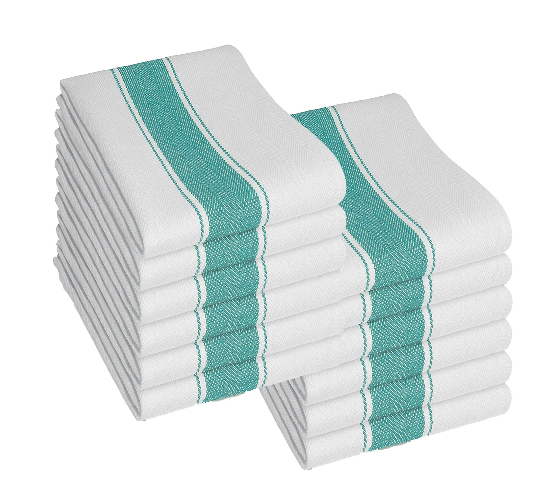 Pack Of 12 Kitchen Tea Towels, Large 100% Cotton Commercial Lint ...