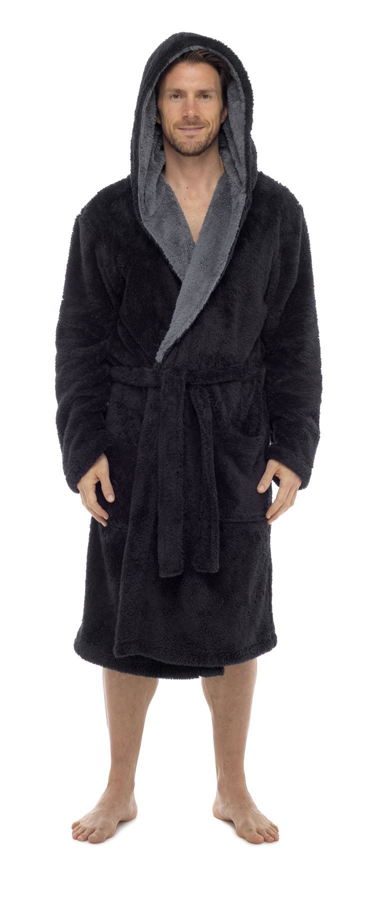 Mens Snuggle Fleece Robe Luxury Super Soft Hooded Dressing Gown