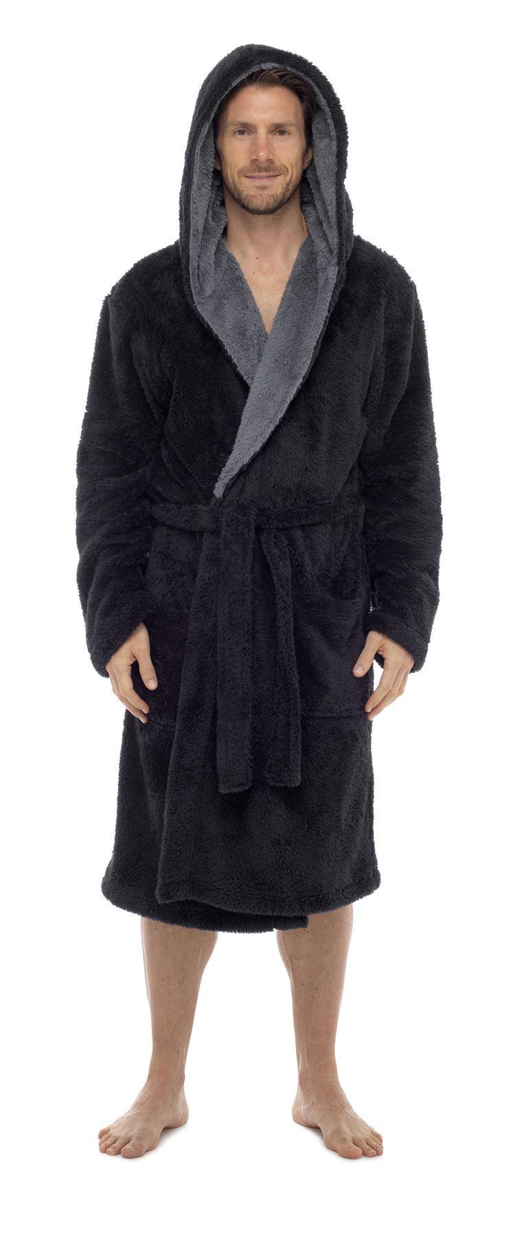 Men\'s Snuggle Fleece Robe, Luxury Super Soft Hooded Dressing Gown ...