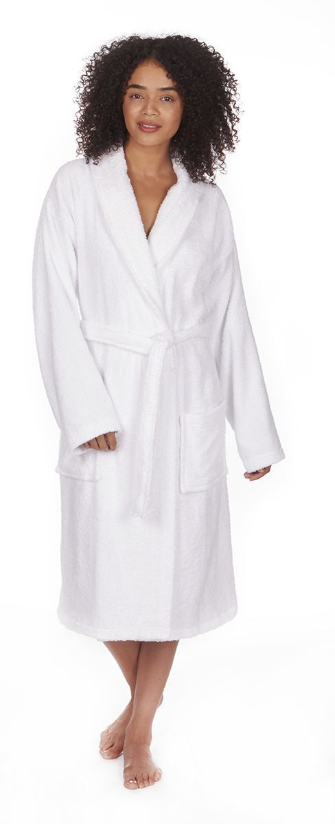 Ladies Towelling Robe Dressing Gown, Soft 100% Cotton Bath Robe, W84 ...