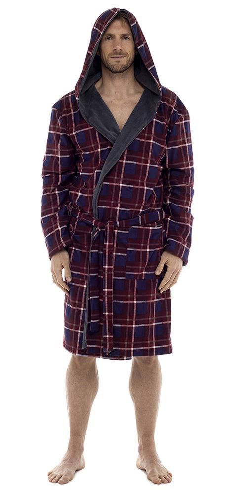 Men\'s Check Flannel Robe With Fleece Lining, Hooded Dressing Gown ...