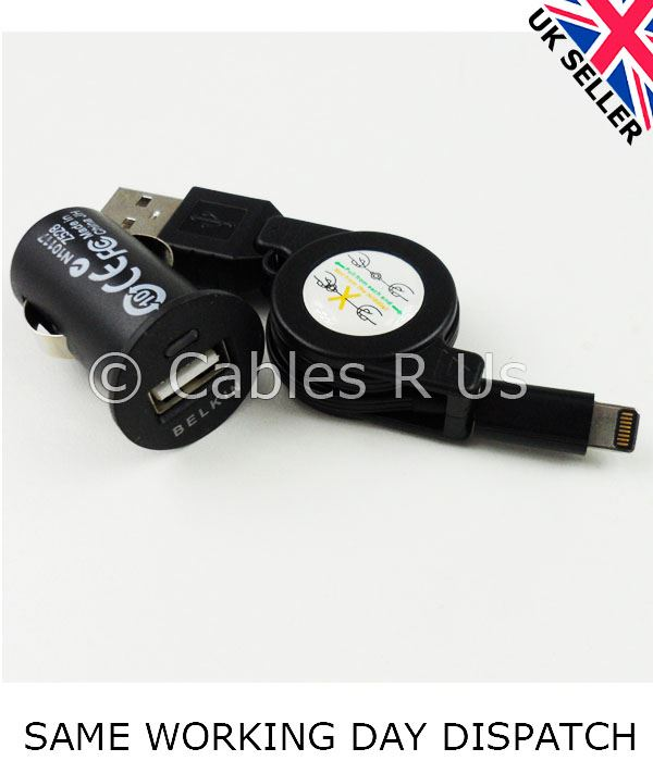 Black-Retractable-Data-Sync-Cable-Lead-Car-Charger-For-iPhone-5-iPad-Mini-iPod