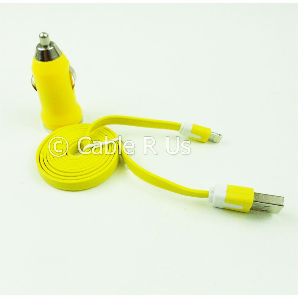 Car-Charger-Adapter-And-Flat-Charging-Data-Cable-For-Iphone-5-5S-5C-iOS7-iPod