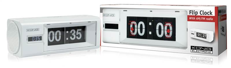 konig retro flip clock with am fm radio alarm analogue display white. Black Bedroom Furniture Sets. Home Design Ideas
