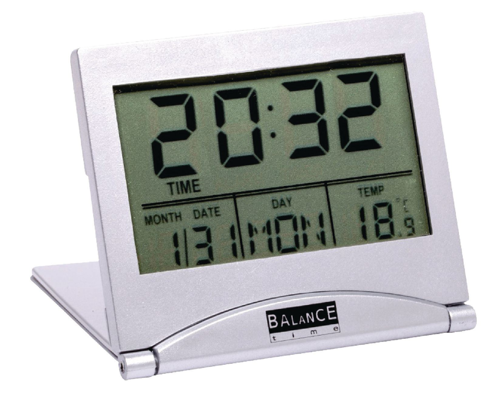 balance digital lcd travel alarm clock with temperature day month display ebay. Black Bedroom Furniture Sets. Home Design Ideas