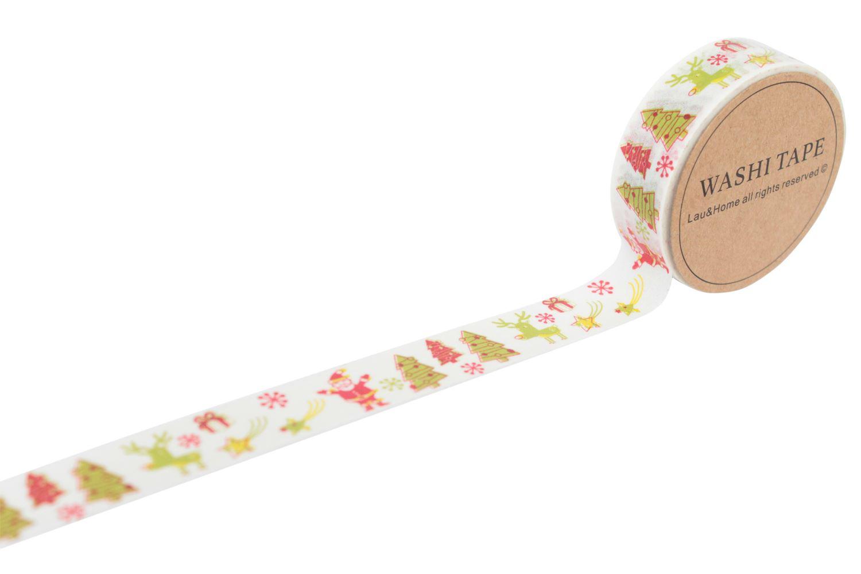 Christmas masking tape washi paper 10m gift wrap decoration self adhesi - Decoration masking tape ...