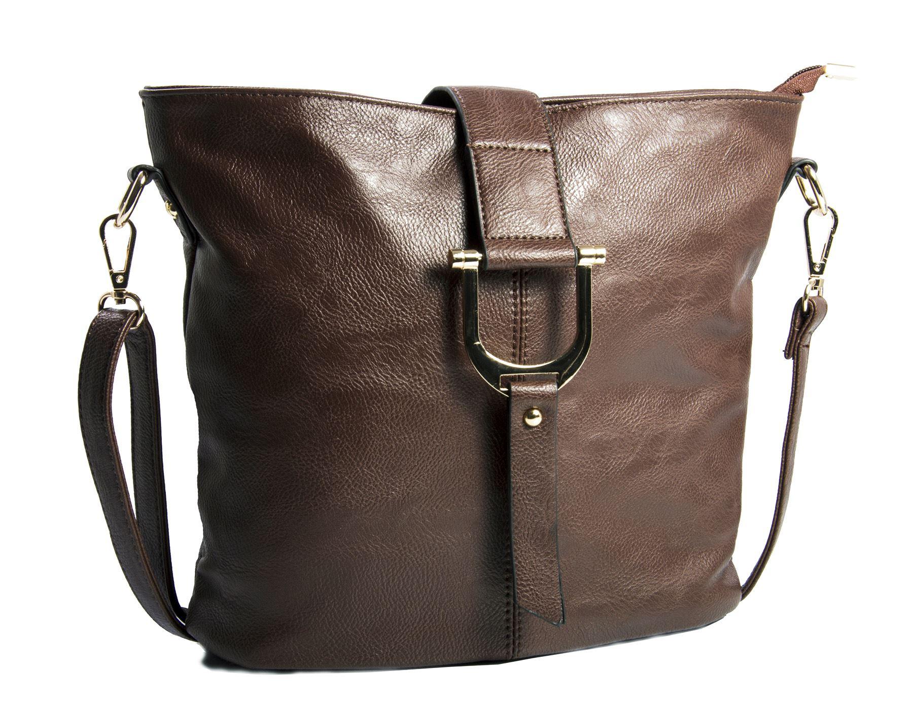 Big Handbag Shop Womens Faux Leather Bucket Style Cross ...