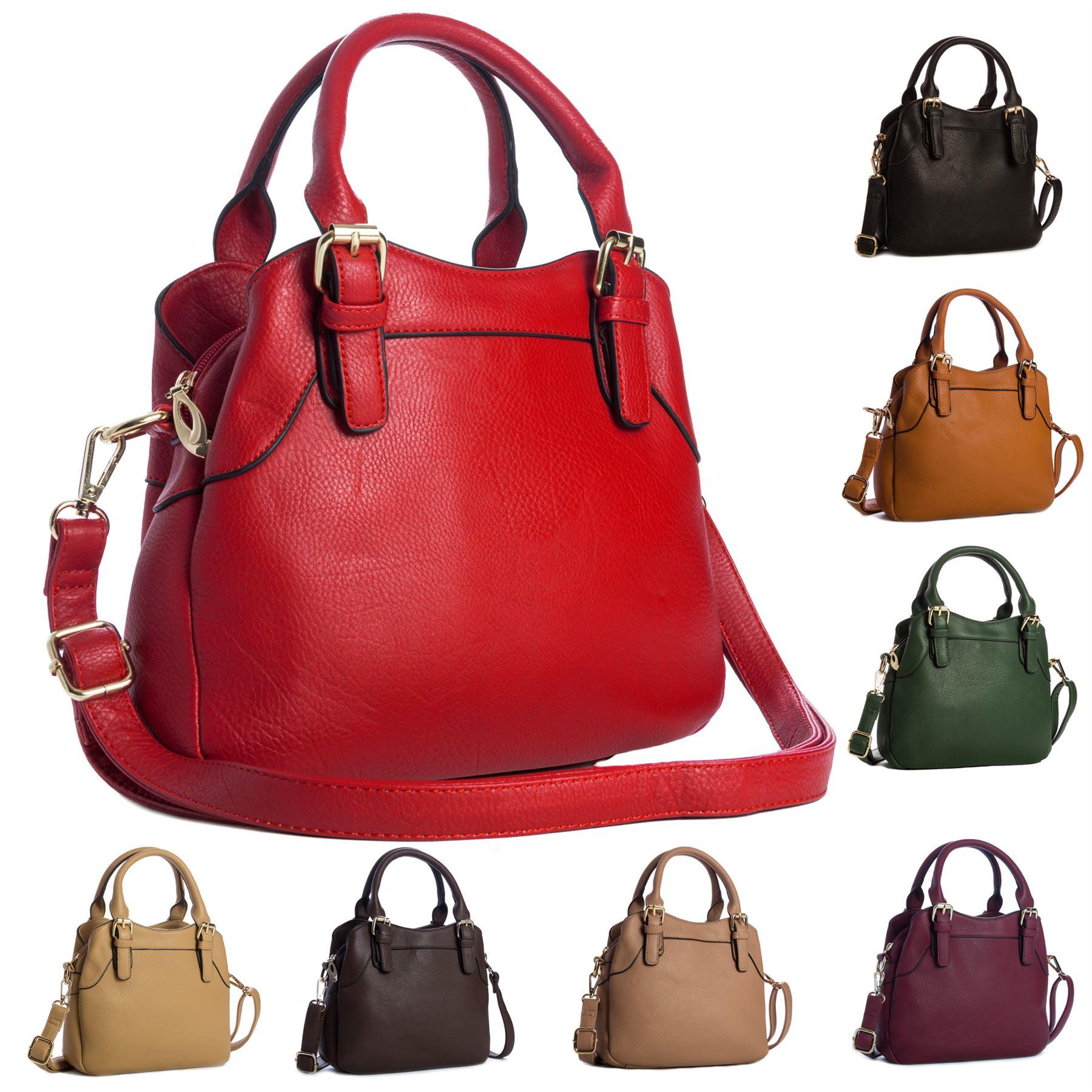 Big Handbag Shop Womens Faux Leather Designer Top Handle Satchel ...