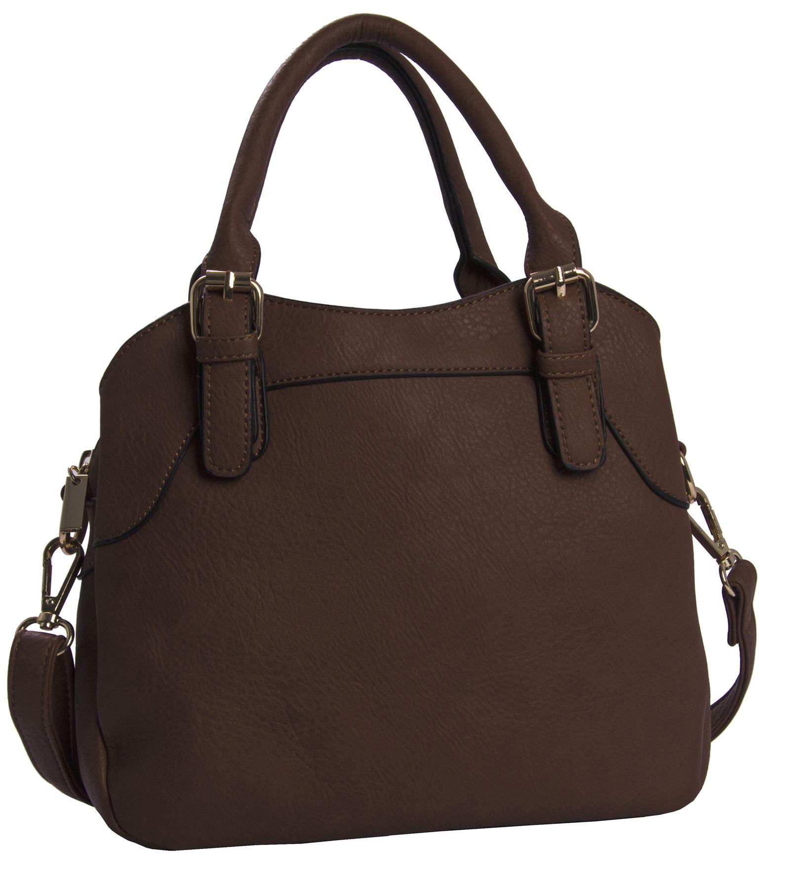 Big Handbag Shop Womens Faux Leather Designer Top Handle Satchel Bag
