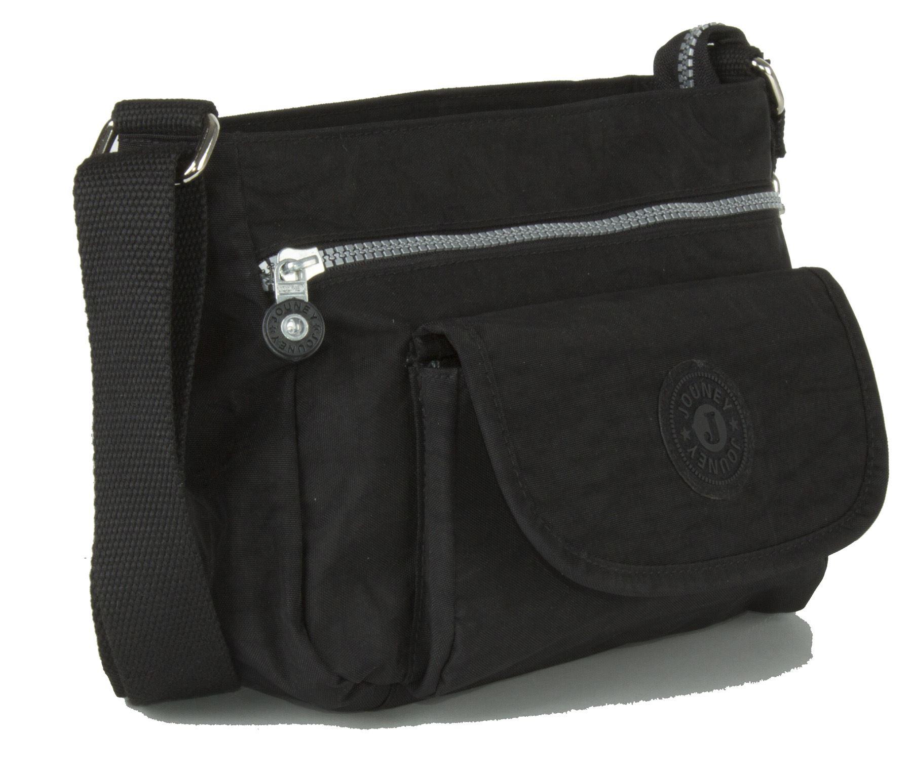 Big Handbag Shop regendicht Stoff viele Taschen Kuriertasche Umhängetasche