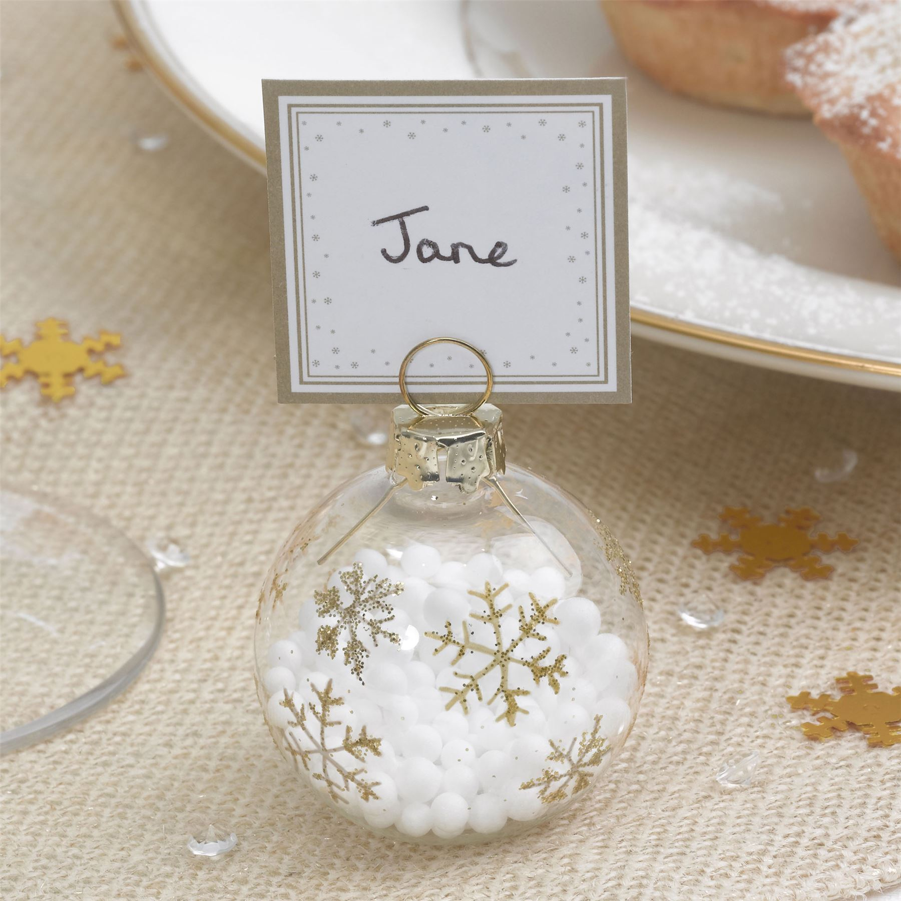 6 bauble place card holders or 10 place cards christmas for Porte nom de table noel