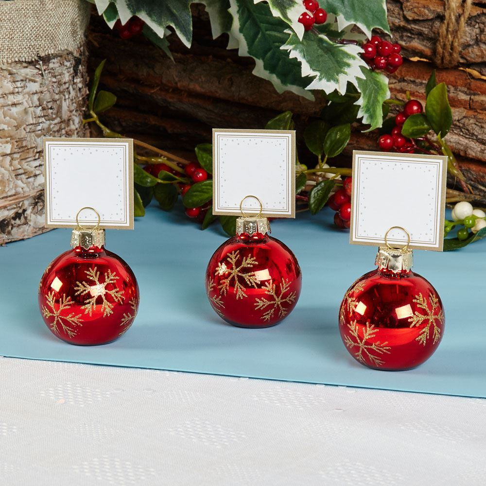 6 bauble place card holders or 10 place cards christmas table name setting ebay. Black Bedroom Furniture Sets. Home Design Ideas