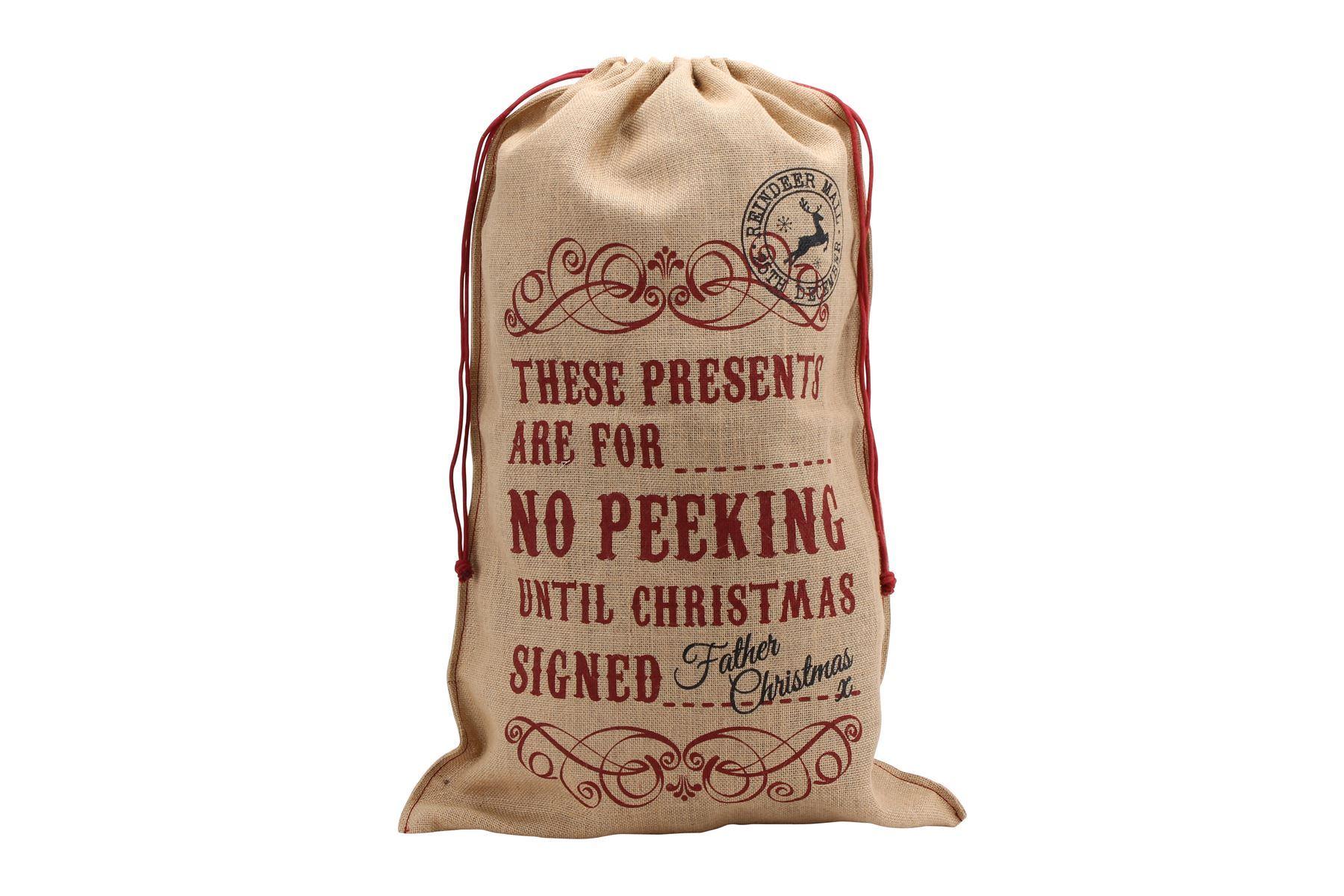 Large vintage style hessian jute christmas present santa